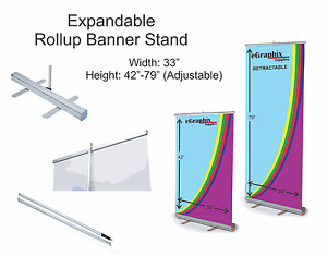 Expandable Roll Up Banner Stand 33 X 42 79 W Free Shipping