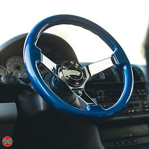 Viilante 3 Dish 6 Hole Steering Wheel Electric Blue Grip Chrome Fit Nrg Hub
