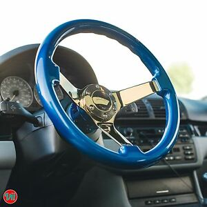 Viilante 3 Dish 6 hole Steering Wheel electric Blue Grip Gold Chrome Fits Nrg