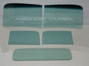 1946 1947 Ford Pickup Glass Windshield 2 Piece Door Rear Back Set Green Tint