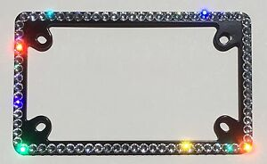 1 Row Motorcycle Crystal Bling License Plate Black Frame With Swarovski Crystals