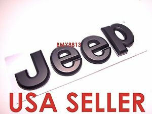 New 13 17 Jeep Patriot Grand Cherokee Liberty Wrangler Black Hood Trunk Emblem