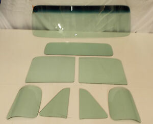 Green Tint Glass 1954 Chevy Gmc Pickup Windshield Vent Door 3 Piece Back Set