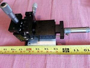 Micrometer Positioning Stage Deltron Cross Roller Slide 3 Axis Used del tron