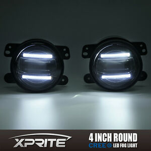 Xprite 4 G2 Round Cree Led 60w Fog Light With Drl For 97 18 Jeep Wrangler Jk Tj