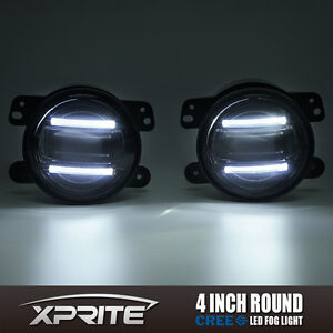 Xprite 4 G2 Round Cree Led 60w Fog Light With Drl For 97 17 Jeep Wrangler Jk Tj