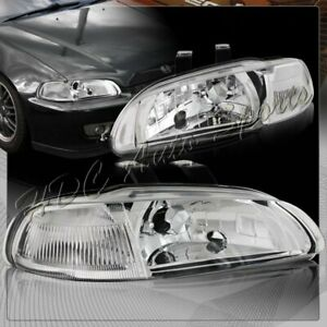For 1992 1995 Honda Civic Hatchback Coupe Jdm Chrome Headlight W Clear Reflector