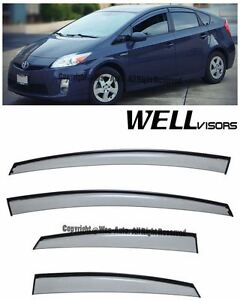 For 10 15 Toyota Prius Wellvisors Side Window Visors W Black Trim Rain Guard