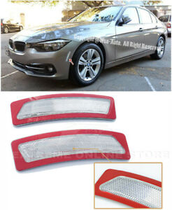 For 16 18 Bmw F30 F31 3 series Clear Front Bumper Reflector Side Marker Lights