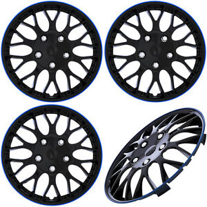 4pc Set Of 15 Inch Ice Black Blue Trim Hub Caps Steel Wheel Covers Cover Cap