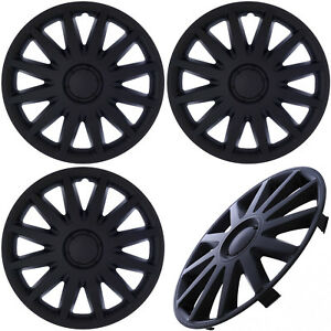 4pc Set Of 14 Inch Matte Black Hub Caps For Steel Wheel Cover Center Cap Covers