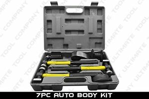7 Pc Fiberglass Auto Body Kit Dent Repair Quarter Panel Removal Hammer Mallet