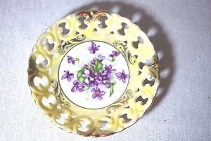 Royal Sealy China Yellow Saucer W Gold Accents Purple Violets In Center