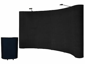 8 Ft Portable Black Display Trade Show Booth Exhibit Pop Up Kit W spotlights