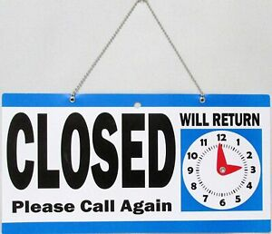 Open Closed Plastic Hanging Store Sign With Will Return Clock Chain Blue white