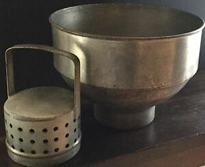 Old Vtg Metal Milk Strainer Cream Separator Dairy Farm Funnel Filter Industrial