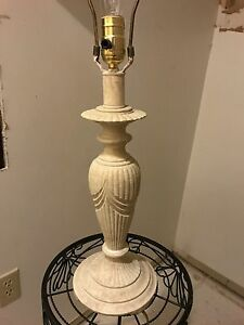 Vtg Art Deco Beautiful Carved White Ivory Alabaster Stone Marble Sculpted Lamp