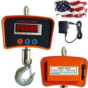 500kg Industrial Crane Hoist Scale Lcd Digital Electronic Hook Hanging Weight Us