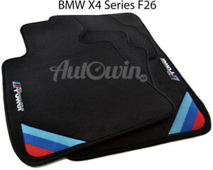 Bmw X4 Series F26 Black Floor Mats With m Power Emblem Side Clips Lhd
