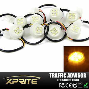 Xprite 180w 8x Led Hide A Way Strobe Lights Truck Roof Toop Flash Bulbs Amber