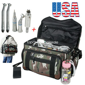 Portable Bag Dental Turbine Unit Air Compressor syringe high Low Handpiece Kit
