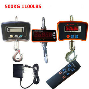 500kg 1100lbs Heavy Duty Lcd Digital Crane Scale Industrial Hanging Scale New