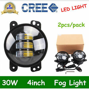 Pair 4 Inch 30w Cree Led Fog Light Driving Lamp Drl 07 now Jeep Wrangler Jk 60w