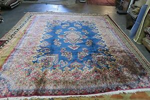 Vintage Blue Pink Hand Knotted Wool Persian Lavar Kerman Area Rug 7 9 X 9 10