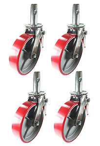 4 Pcs Scaffold Caster 6 X 2 Red Wheels W Locking Brakes 1 3 8 Stem 2800 Lbs