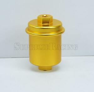 Gold Universal Inline Fuel Filter High Flow 100 Micron Cleanable Stainelss Mesh