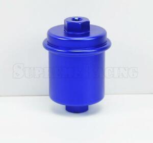 Blue Universal Inline Fuel Filter High Flow 100 Micron Cleanable Stainelss Mesh