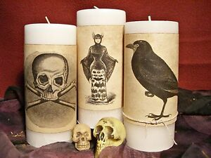12 Candle Wraps Halloween Vintage Look Aged Tea Stained Paper Decor W Twine Ties