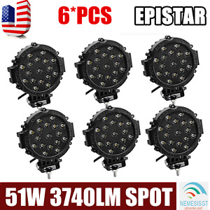 6x 51w Round Led Light Pod 7inch Spot Work Off Road Roof Bar Bumper Driving Slim