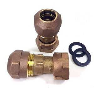 Pair 3 4 Compression Water Meter Coupling Lead Free Brass Swivel X Cts Compr