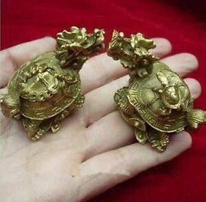 China S Rare Bronze Statue Carving Delicate A Pair Of Old Dragon Turtle