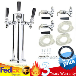 3 Faucets Stainless Steel Chrome Triple Taps Faucets Draft Beer Tower Silver Us