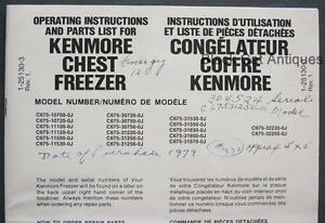 1979 Simpson Sears Kenmore Chest Freezer Owners Manual parts List Eng fr 19 Mod
