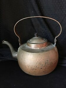 Antique Large Copper Gooseneck Tea Kettle Great Looking Oldie