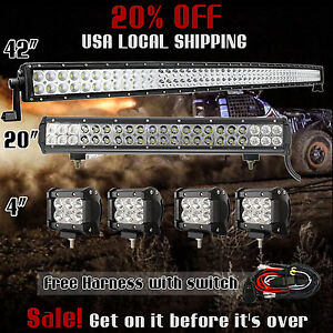 42inch Curved Led Light Bar 20in 4 Cree Pods Offroad Suv 4wd Fog Jeep 40 In