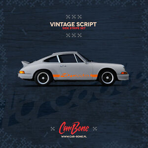 Aircooled Vintage Script Side Decals Porsche 911 930 964 Stickers Stripes Livery