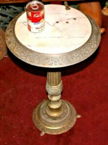 Antique Victorian Art Deco Brass Marble Writing Desk Table Circular Design