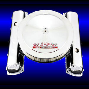 Chrome Valve Covers And Red 455 Emblem Air Cleaner Combo Fits 455 Olds Engines