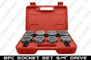 8 Pc 3 4 Drive Jumbo Socket Set Big Rig Hd Chrome Plated Truck Lug Nut Removal