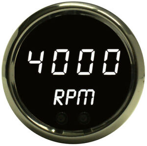2 1 16 Digital Tachometer White Led Gauge Chrome Bezel 52mm Lifetime Warranty
