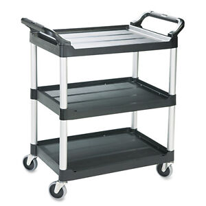 Portable Wheeled Rolling Plastic 3 Shelf Tool Utility Hand Cart Storage Trolley
