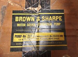 Brown Sharpe 212 Hydraulic Centrifugal Pump And Electric Motor 713 212 380