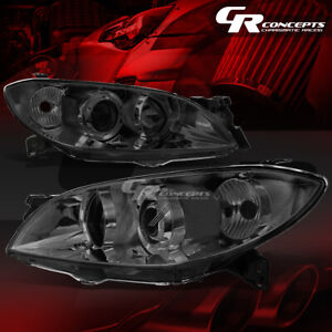 Pair Smoked Housing Clear Corner Headlight Lamps Direct Lh Rh For 04 09 Mazda 3