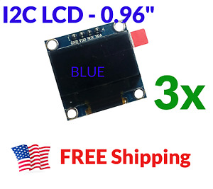 3pcs 0 96 Oled Lcd Display I2c Iic 128x64 Arduino Esp8266 Screen Blue Ssd1306