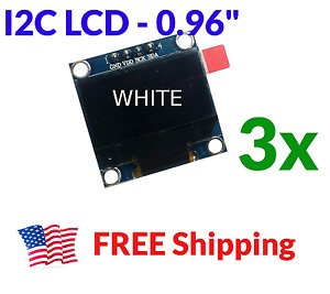 3pcs 0 96 Oled Lcd Display I2c Iic 128x64 Arduino Esp8266 Screen White Ssd1306