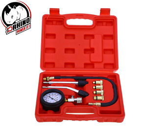 D Rhino 8pc Petrol Engine Cylinder Compression Tester Kit Automotive Tool Gauge
